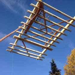 Dachstuhl auf Einfamilienhaus aufrichten